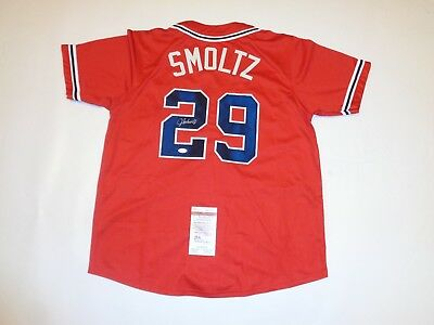 JOHN SMOLTZ autographed signed Braves red jersey JSA Witness