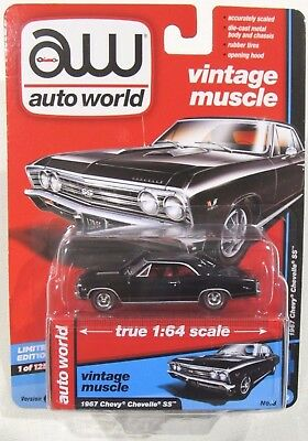AUTO WORLD 2017 VINTAGE MUSCLE 1967 CHEVY CHEVELLE SS 1 OF 1,256 A Black