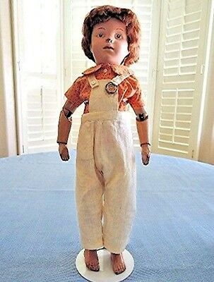 "Antique 19"" Schoenhut Boy DOLL 1911 Fully-Jointed Wood Brown Eyes Mohair Wig"