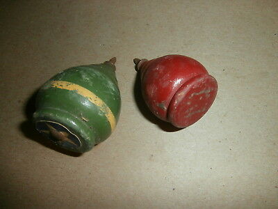 2 Vintage Wooden Spinning Tops Toys Red Green