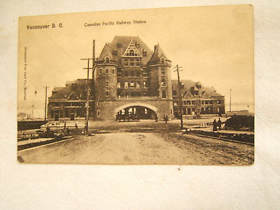 Old Postcard Canadian Pacific Railway Station Vancouver Bc 1906