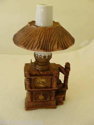 """Miniature Ceramic Oil Lamp-9-1/2"""" X 4""""-Chimney-Removable Shade-Marked Japan"""