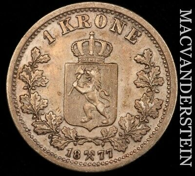 Norway: 1877 One Krone - Scarce!!  Better Date!!  No Reserve!!  #w176