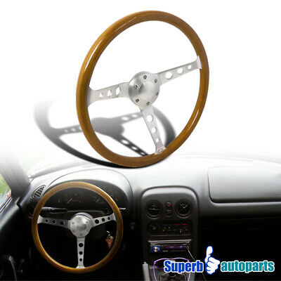 "370mm 14.75"" Aluminum Spokes 2"" Deep Wooden Vintage Style Steering Wheel"