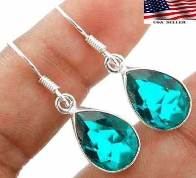 "8CT Apatite 925 Solid Genuine Sterling Silver Earrings  Jewelry 1 1/3"" Long"