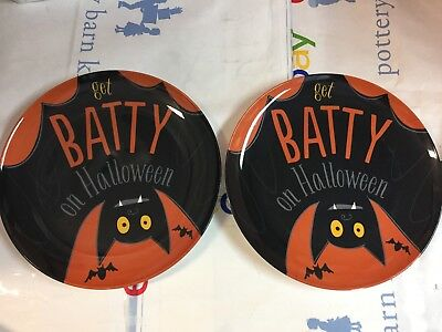 TWO Pottery Barn Kids HALLOWEEN BAT PLATE Kitchen Dining Table Party Melamine NW