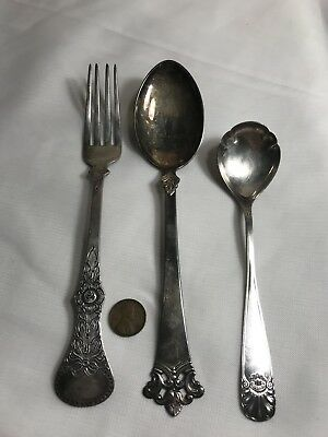 Vintage 830S Silver Serving Spoon,Smaller Spoon and Fork 105 Grams Not Scrap