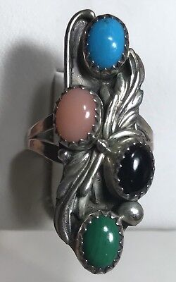 NAVAJO Turquoise,Onyx,Coral,Malachite Stone Sterling Silver Ring Sz 5.25 Sign R