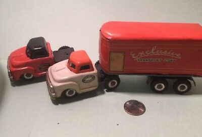 Vintage Tin Friction 1950's Japan Exclusive Transport Semi Toy Truck