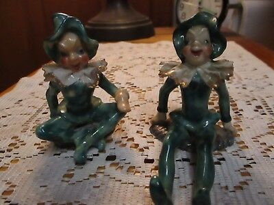 Pair of Vintage 1940s Christmas Elf Pixie Figurines - Occupied Japan - RARE NICE
