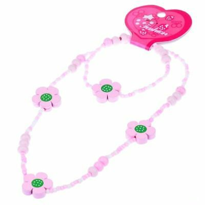 Random 1 Set Of Jewelry Pink Flower Wood Polyester Plastic Bead Necklace Earring