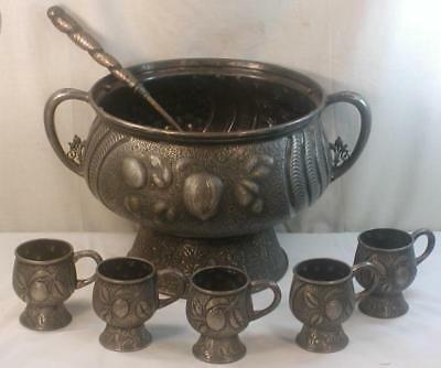 Antique Large Super Ornate Meriden Silver Plated Punch Bowl W/6 Cups & Ladle