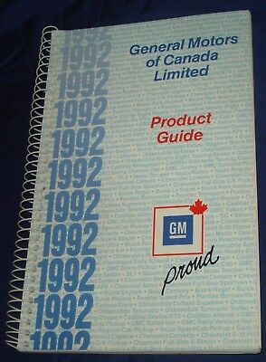 BH539 1992 G.M. General Motors of Canada Product Guide Chevy Corvette Cadillac