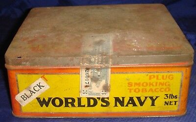 BH728 Vtg World's Navy Smoking Tobacco Tin Can w/ Hinged Lid