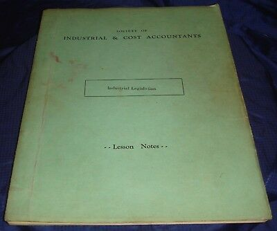 BH835 Vtg Society of Industrial & Cost Accountants Legislation Lesson Notes 1964