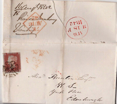 1842 QV DUBLIN IRISH MALTESE CROSS ON LETTER WITH 1d PENNY RED IMPERF STAMP