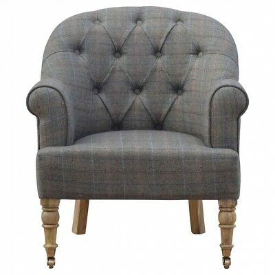 Arm Chair - French Carved Antique Style Tartan Upholstery