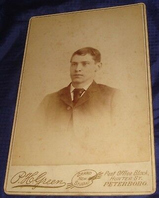 BR617 Vtg Peterboro ON Cabinet Card Photo by P H Green Unidentified Young Man