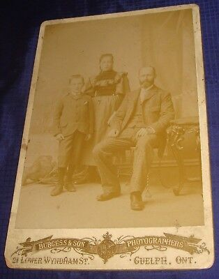 BR665 Vtg Guelph ON Cabinet Card Photo by Burgess & Son Father Daughter Son Prob