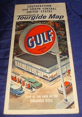BS393 Vtg Gulf Oil Gas South Eastern & South Central U.S. Road Travel Map
