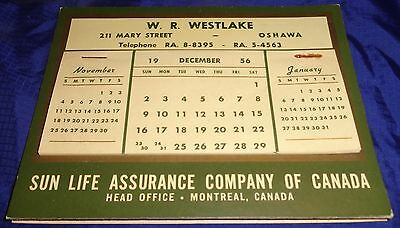 BS417 Vtg Desk Calendar W.R. Westlake Oshawa ON Sun Life Assurance Co 1957