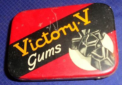 DP055 Vtg Fryer & Co. Nelson Ltd. Victory V Gums Tin w/ Hinged Lid