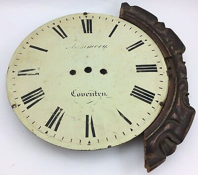 "COVENTRY Antique GRANDFATHER CLOCK 12"" IRON FACE w/ PARTIAL PIECE WOOD TRIM"