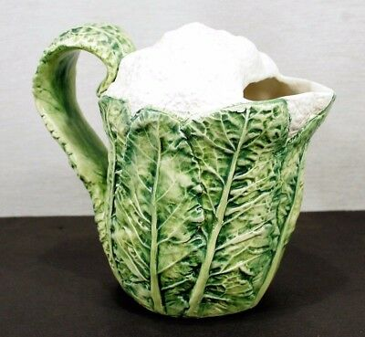 """MAJOLICA Cauliflower JUG Made in Italy for Lord and Taylor  8"""". MINT!"""