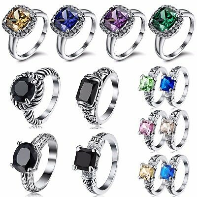 Silver Elegant Fashion Woman Wedding Ring 925 Gemstone Jewelry Gift US Size 6-9