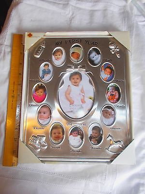 NEW Babys FIRST YEAR Satin Silver 8 x 10 Lawrence Picture Frame.Holds 13 Picture