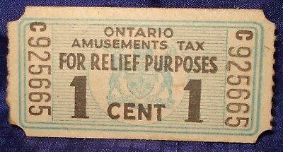KM470 Vtg Old WWII Ontario Amusement Tax Ticket Coupon