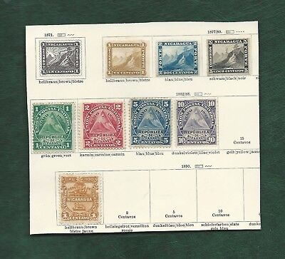 Latin America collection of old mainly used stamps on 9 pages Nicaragua etc