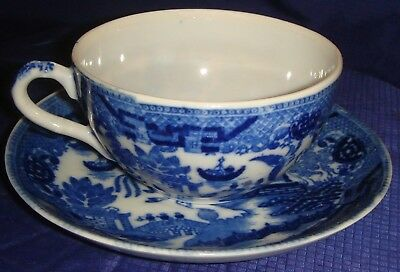 MH102 Vtg Blue Willow Japan Tea Cup & Saucer