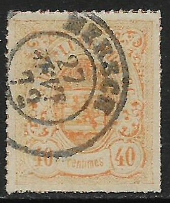 LUXEMBOURG 1867 Rouletted 40c Orange-Red SG 36 Used (Cat £95)