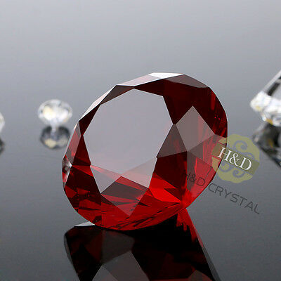 Red Crystal Diamond Shape Paperweight Glass Display Wedding Ornament Gift 30mm