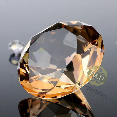 Khaki Cut Crystal Diamond Shape Paperweight Glass Gem Display Wedding Gift 30mm