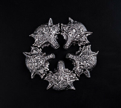 42X37MM 10pc PUNK WESTERN WOLF SADDLE ANTIQUE SLIVER DECOR BELT BAG CONCHOS TACK