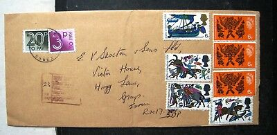 Gb 1988 Cover With Battle & Commonwealth Arts Stamps + Two Postage Dues
