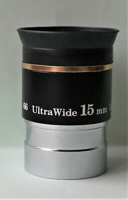 """High quality 1.25"""" 15mm Ultrawide  66 degree eyepiece for telescope"""