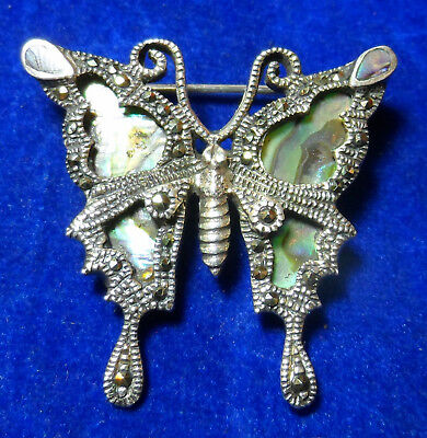 Stunning 925 Sterling Silver Marcasite & Abalone Shell Butterfly Pin Brooch