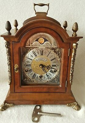 Warmink Clock Westminster Mantel Shelf Chime Nut Wood Moonphase Night Switch