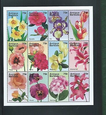 Antigua & Barbuda sheetlet of 12 different unmounted mint flowers stamps MNH