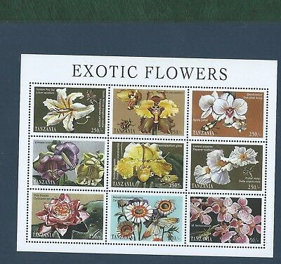 Tanzania and Uganda 2 sheetlets of 9 different unmounted mint Flowers stamps MNH