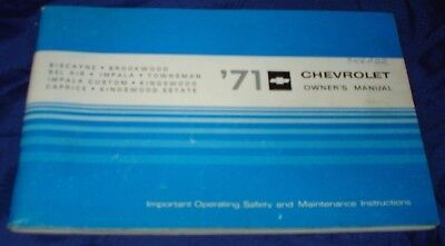RF1609 1971 71 Chevrolet Chev Chevy Owners Manual
