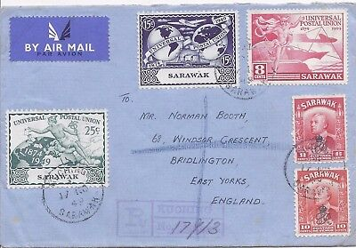 Sarawak 1949 registered airmail cover to England
