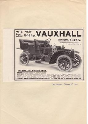 RF1676 1907 Vauxhall 12-16H.P. 4Cyl. Ad Advertisement The AutoCar Magazine