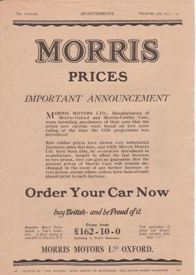RF1963 1925 25 Morris Oxford Cowley Vtg The AutoCar Magazine Ad