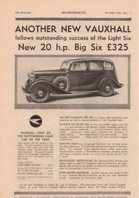 RF1975 1933 33 Vauxhall 20 h.p. Big Six Vtg The AutoCar Magazine Ad