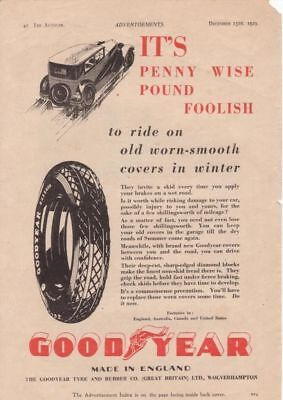 RF1986 Vtg The AutoCar Magazine Ad 1929 Goodyear Tire Co.