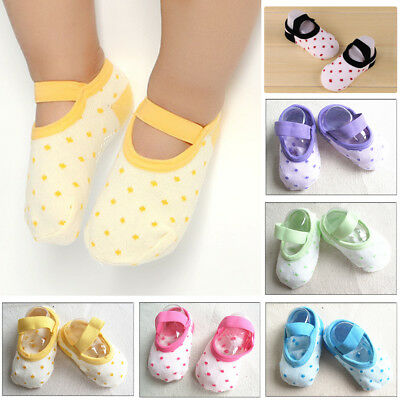 Baby Boy Girl Polka Dot Moccasins Non Slip Indoor Slippers Socks Age 1-3 Y